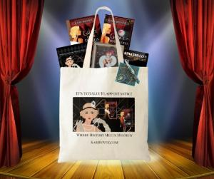 Win one signed copy each of Grace in the Wings and Grace in Hollywood, a completed and framed (8.5 x 11) diamond painting of a flapper, an art deco mousepad, a small art deco notepad and pen, an art deco tote bag, and an Amazon gift card for $50!