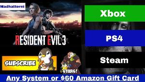 Win Resident Evil 3 Remake or $60 Amazon Gift Card!