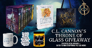 """Win the complete 8-book hardback boxed set of the Throne of Glass series by Sarah J. Mass, Embers of Memory Throne of Glass game, a """"rattle the stars"""" tote bag, an Eye of Elena necklace, a fireheart candle, a quote sticker, and a coffee mug!"""
