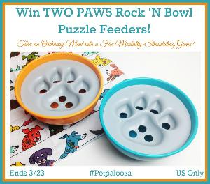 Win TWO PAW5 Rock 'N Bowl Puzzle Feeders!