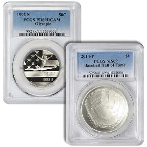 Win TWO PCGS certified Modern Coins: 1992-S Olympic Commemorative Half Dollar PR-69 DCam Baseball Hall of Fame Commemorative Dollar [a $90 value]