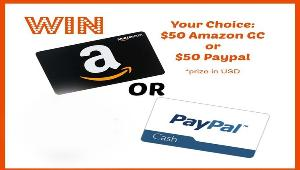 Win Your Choice- $50 Amazon GC or Paypal!
