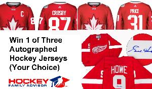 WIN: Your choice of one of the three autographed hockey jerseys.