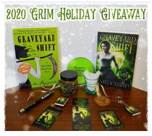Win your choice of one signed Lana Harvey or Blood Vice book,one Soul Matter candle, a Purgatory Lounge shot glass and coaster, 1 Bank of Eternity wooden coin, 2 Lana magnets, a Lana keychain, a Lana sticker, a Lana bookmark, and a stylus ink pen!!