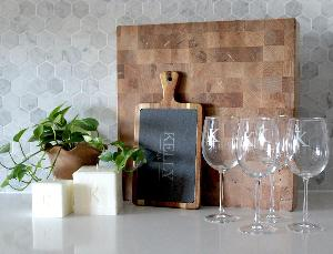 wineglasses, board, candles