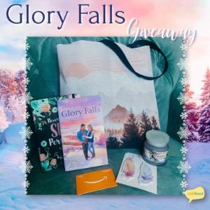 """Winner will receive a Glory Falls prize package including a paperback copy of Glory Falls, a Society 6 Mountain Dusk Tote Bag, """"Nevertheless She Persisted"""" Journal, Huckleberry Haven Candle, Kawaii Pen Shop Feather Bookmarks, and a $10 AGC!"""