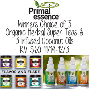 Winners Choice of 3 Coconut Oils and 3 Super Teas from Primal Essence