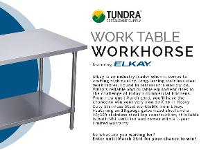 WORK TABLE WORKHORSE FEATURING ELKAY